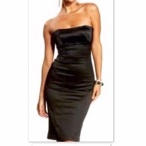 Bebe Black Satin Bodycon Dress